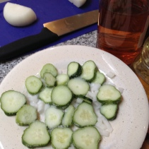Pour that salt over the cucumbers and onion.